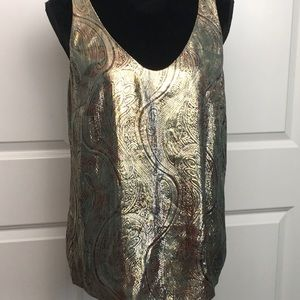 J Crew Tank Style Blouse in Metallic Gold